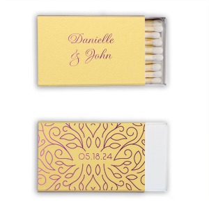 Our beautiful custom Poptone Mimosa Classic Matchbox with Shiny Lavender Foil has a Linear Floral Frame graphic and is good for use in Frames, Wedding, Anniversary themed parties and will look fabulous with your unique touch. Your guests will agree!