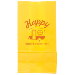 Custom Yellow Goodie Bag with Matte Tangerine Foil has a Camper graphic and is good for use in Travel and Retirement themed parties and are a must-have for your next event—whatever the celebration!