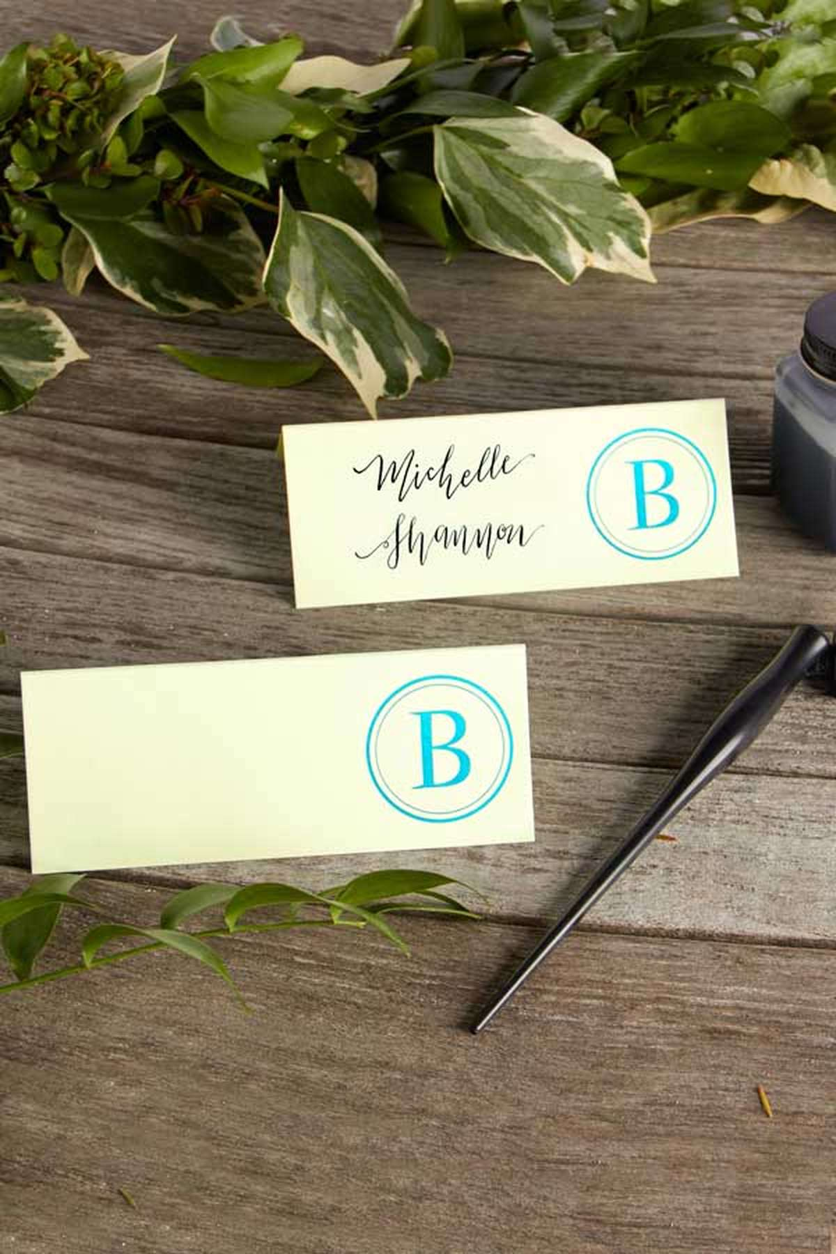 personalized foil stamped wedding place cards