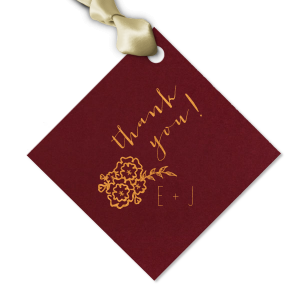 The ever-popular Natural Cranberry Arch Gift Tag with Satin Copper Penny Foil Color has a Marigold Bunch graphic and is good for use in Accents themed parties and can be customized to complement every last detail of your party.
