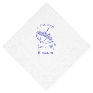 Our personalized White 4-ply Cocktail Napkin with Shiny Lavender Foil has a Umbrella with Flowers graphic and is good for use in Bridal Shower, Baby Shower themed parties and can be personalized to match your party's exact theme and tempo.
