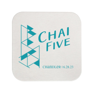 Our beautiful custom White Square Coaster with Matte Teal/Peacock Foil has a Modern Triangles graphic and is good for use in Bar and Bat Mitzvahs, Birthdays and Modern Weddings and will make your guests swoon. Personalize your party's theme today.