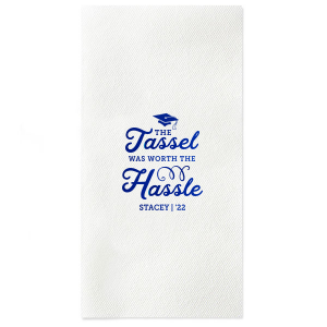 ForYourParty's elegant Powder Blue Cocktail Napkin with Shiny Royal Blue Foil has a Cap graphic and is good for use in Graduation themed parties and are a must-have for your next event—whatever the celebration!