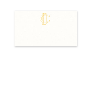 Our beautiful custom Strathmore White Business/Calling Card with Shiny 18 Kt Gold Foil will make your guests swoon. Personalize your party's theme today.