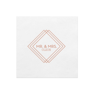 Our beautiful custom White Borderless Cocktail Napkin with Satin Copper Penny Foil Color has a Diamond Frame graphic and is good for use in Industrial, Modern, Wedding themed parties and will give your party the personalized touch every host desires.