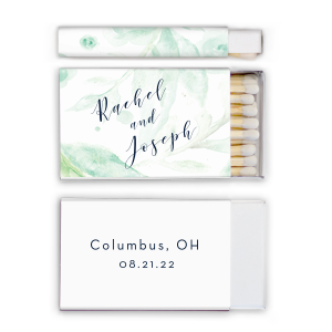 Our custom White Riviera Photo/Full Color Matchbox with Matte Navy Ink Digital Print Colors will make your guests swoon. Personalize your party's theme today.