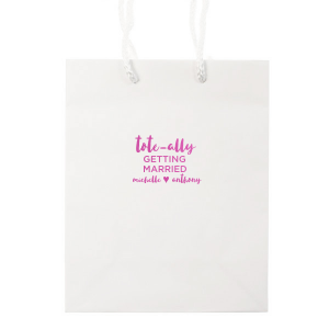 Custom White Gift Bag with Satin Fuchsia Foil Color couldn't be more perfect. It's time to show off your impeccable taste.