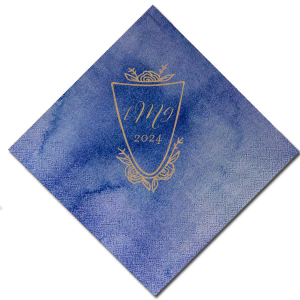 ForYourParty's personalized Watercolor Nightfall Cocktail Napkin with Shiny Champagne Foil has a Crest Rose graphic and is good for use in Floral, Wedding themed parties and will add that special attention to detail that cannot be overlooked.