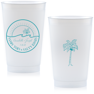 Customize this beach themed cup for a sunny and unique addition to your wedding barware. You can even send them home with guests as personalized party favors.