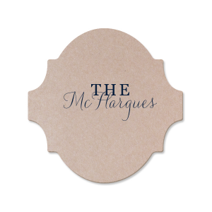 Customize this wedding coaster and show off your new family name with every drink! The modern calligraphy script makes for a beautiful wedding font—you'll want to bring extras home to stock your wet bar.