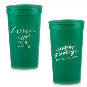 Personalized Teal 16 oz Stadium Cup with Matte White Ink Cup Ink Colors has a Season's Greetings graphic and is good for use in Words, Holiday, Christmas themed parties and will give your party the personalized touch every host desires.