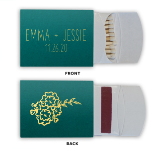 Our beautiful custom Poptone Teal/Peacock Classic Matchbox with Satin Sterling Silver Foil Color and Shiny Leaf Foil Color has a Marigold Bunch graphic and is good for use in Accents themed parties and couldn't be more perfect. It's time to show off your impeccable taste.