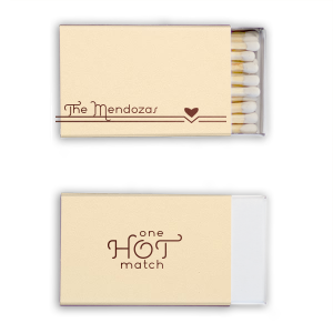 ForYourParty's chic Natural Ivory 30 Strike Matchbook with Shiny Merlot Foil has a Heart Flourish graphic and is good for use in Hearts, Accents, Wedding themed parties and will give your party the personalized touch every host desires.