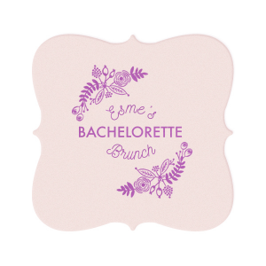 Our custom Eggshell Square Coaster with Satin Plum Foil Color has a Rustic Floral Frame 2 graphic and is good for use in Frames themed parties and will add that special attention to detail that cannot be overlooked.