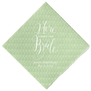The ever-popular Kiwi Cocktail Napkin with Matte White Foil has a Here Comes The Bride 2 graphic and is good for use in Words, Bridal Shower themed parties and will make your guests swoon. Personalize your party's theme today.