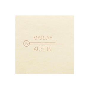ForYourParty's personalized Ivory Borderless Cocktail Napkin with Shiny Rose Gold Foil has a Circle Flourish graphic and is good for use in Accents themed parties and will make your guests swoon. Personalize your party's theme today.
