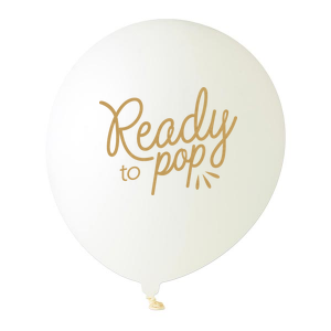 ForYourParty's chic White Designer Balloon with Satin Gold Ink Color has a Ready to Pop graphic and is good for use in Words, Baby Shower themed parties and will give your party the personalized touch every host desires.