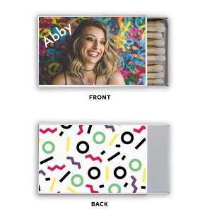Personalized White Classic Photo/Full Color Matchbox with Matte White Ink Digital Print Colors can be personalized to match your party's exact theme and tempo.