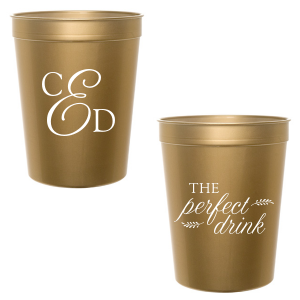Our custom Gold 16 oz Stadium Cup with Matte White Ink Cup Ink Colors can't be beat. Showcase your style in every detail of your party's theme!