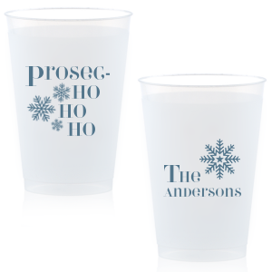 ForYourParty's elegant Matte Stone Blue Ink 14 oz Frost Flex Cup with Matte Stone Blue Ink Cup Ink Colors has a Snowing graphic and a Snowflake 3 graphic and is good for use in Christmas themed parties and will make your guests swoon. Personalize your party's theme today.