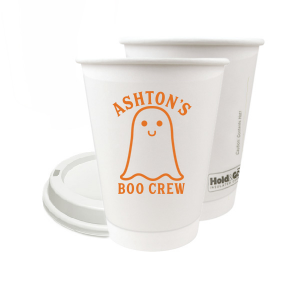 ForYourParty's elegant 8 oz Paper Coffee Cup with Lid with Matte Tangerine Ink Cup Ink Colors has a Baby Ghost graphic and is good for use in Halloween themed parties and will look fabulous with your unique touch. Your guests will agree!