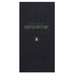 Our custom Black Cocktail Napkin with Matte Key Lime Foil has a Spider graphic and is good for use in Halloween themed parties and will make your guests swoon. Personalize your party's theme today.