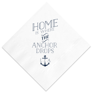 ForYourParty's chic Navy Linen Like Cocktail Napkin with Matte White Foil has a Anchor Frame graphic and is good for use in Travel, Beach/Nautical, Father's Day themed parties and can't be beat. Showcase your style in every detail of your party's theme!