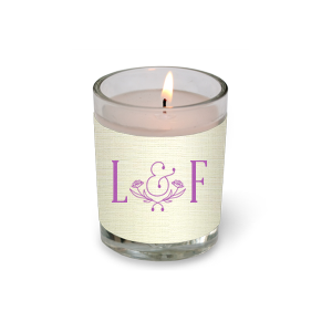 Initials and Floral Ampersand Votive Candle