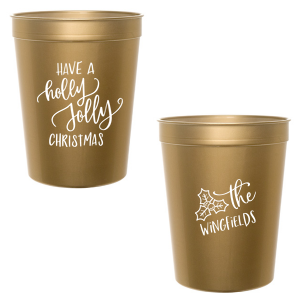 ForYourParty's elegant Gold 16 oz Stadium Cup with Matte White Ink Cup Ink Colors has a Holly Jolly Christmas graphic and a Holly graphic and is good for use in Holiday, Christmas themed parties and couldn't be more perfect. It's time to show off your impeccable taste.