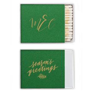 ForYourParty's chic Natural Leaf Riviera Matchbox with Satin 18 Kt. Gold Foil has a Season's Greetings graphic and is good for use in Words, Holiday, Christmas themed parties and are a must-have for your next event—whatever the celebration!