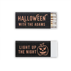 Our custom Glitter Black Euro Matchbox with Shiny Rose Gold Foil has a Scary Pumpkin graphic and is good for use in Halloween themed parties and will make your guests swoon. Personalize your party's theme today.