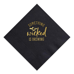 Our personalized Black Cocktail Napkin with Shiny 18 Kt Gold Foil has a Bats graphic and is good for use in Halloween, Holiday, Animals themed parties and will make your guests swoon. Personalize your party's theme today.