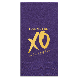 Personalized Amethyst Cocktail Napkin with Shiny 18 Kt Gold Foil can be customized to complement every last detail of your party.