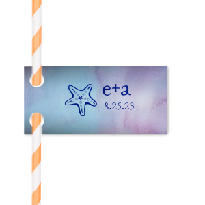 ForYourParty's personalized Watercolor Ocean Wave Straw Tag with Shiny Royal Blue Foil has a Starfish graphic and is good for use in Beach/Nautical themed parties and will impress guests like no other. Make this party unforgettable.