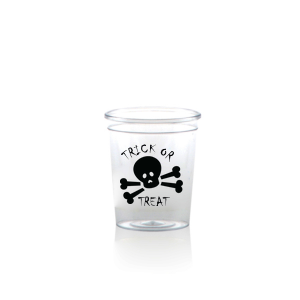 The ever-popular Matte Black Ink Plastic Shot Glass with Matte Black Ink Print Color has a Skull & Crossbones graphic and is good for use in Halloween themed parties and are a must-have for your next event—whatever the celebration!