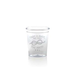 Personalized Matte Slate Gray Ink Plastic Shot Glass with Matte Slate Gray Ink Screen Print has a Knot graphic and is good for use in Wedding themed parties and can be personalized to match your party's exact theme and tempo.