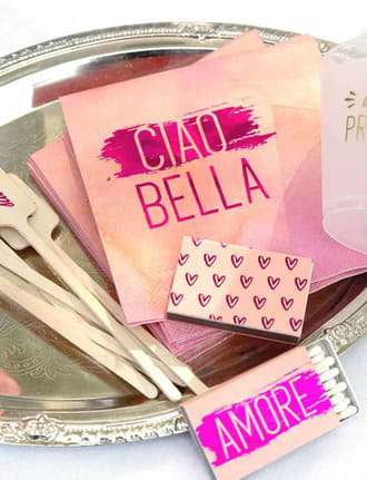 Customize your party with napkins, matches and cups