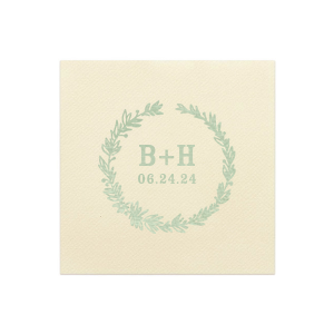 Our personalized White Cocktail Napkin with Shiny Green Tea Foil has a Leaf Frame graphic and is good for use in Wedding themed parties and couldn't be more perfect. It's time to show off your impeccable taste.