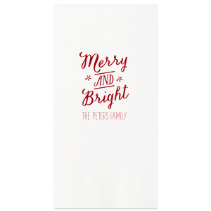 Our personalized White Cocktail Napkin with Shiny Convertible Red Foil has a Merry and Bright graphic and is good for use in Christmas, Holiday, Star themed parties and will impress guests like no other. Make this party unforgettable.