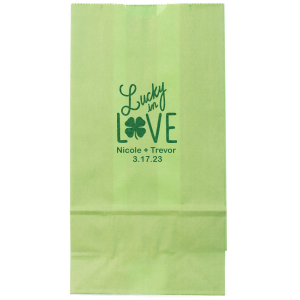 Our personalized Satin Leaf Large Cellophane Bag with Satin Leaf Foil has a Lucky In Love graphic and is good for use in St. Patrick's Day, Wedding themed parties and will give your party the personalized touch every host desires.