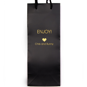 Custom Black Wine Euro Bag with Shiny 18 Kt Gold Foil has a Heart Solid graphic and is good for use in Love, Wedding themed parties and will add that special attention to detail that cannot be overlooked.
