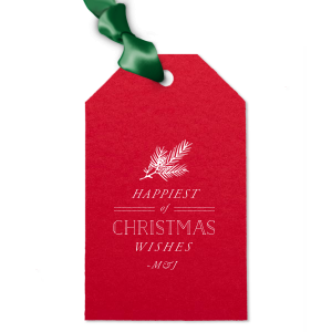 Custom Poptone Convertible Red Luggage Gift Tag with Matte White Foil Color has a Pine graphic and is good for use in Floral, Outdoors, Organic themed parties and couldn't be more perfect. It's time to show off your impeccable taste.