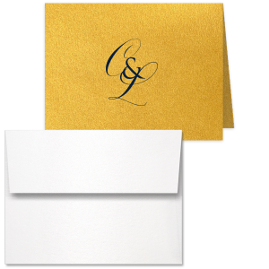 Our personalized Stardream Super Gold Panel Note Card with Matte Navy Foil and Shiny 18 Kt Gold Foil will look fabulous with your unique touch. Your guests will agree!