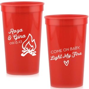 Personalized Red 16 oz Stadium Cup with Matte White Ink Cup Ink Colors has a Campfire graphic fun quote and is good for use in Outdoors and Wedding themed parties and will give your party the personalized touch every host desires.