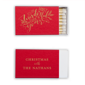 The ever-popular Poptone Convertible Red Riviera Matchbox with Satin 18 Kt. Gold Foil has a The Most Wonderful Time graphic and is good for use in Christmas and Holiday themed parties and can be customized to complement every last detail of your party.