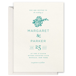 ForYourParty's elegant Lettra Pearl White 110lb Invitation with Letterpress Ink has a Marigold Bunch graphic and is good for weddings and can be personalized to match your party's exact theme and tempo.