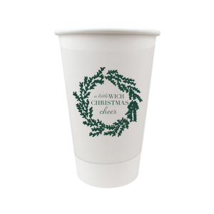 The ever-popular 12 oz Paper Coffee Cup with Lid with Matte Spruce Cup Ink Colors has a Leaf Frame 6 graphic and is good for use in Holiday and Christmas  themed parties and will give your party the personalized touch every host desires.