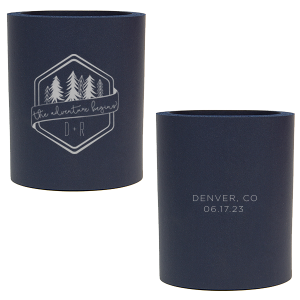 Our custom Navy Slim Can Cooler with Silver Ink Cup Ink Colors has a Adventure Badge graphic and is good for use in Wedding, Travel, Outdoors themed parties and will make your guests swoon. Personalize your party's theme today.