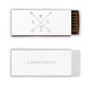 Our custom White 30 Strike Matchbook with Shiny Green Tea Foil has a Cross Arrows 2 graphic and is good for use in Accents, Frames themed parties and will impress guests like no other. Make this party unforgettable.