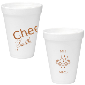 ForYourParty's personalized Copper Ink 16 oz Styrofoam Cup with Copper Ink Cup Ink Colors has a Accent Ampersand 2 graphic and is good for use in Accents, Words, Wedding themed parties and will give your party the personalized touch every host desires.